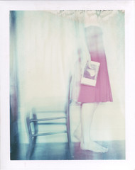 Ghost reader (emilie79*) Tags: red selfportrait girl doubleexposure mistake polaroid180 iduvfilm