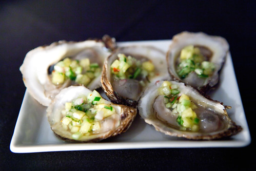 Blue Point Oysters with pineapple cucumber relish