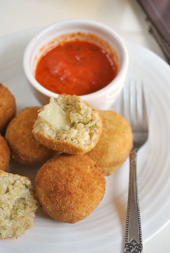 Quinoa Croquettes with Red Peppers Salsa