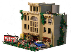 Zombie Apocalypse Base Contest Entry (~Amadgunslinger~) Tags: family lego fig zombie apocalypse mini 1950s minifig fighting custom entry mafia falcone brickarms brickforge