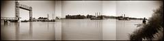 Rio Vista argorama (efo) Tags: california bridge bw river delta barge argusc3 multiframe riovista argorama