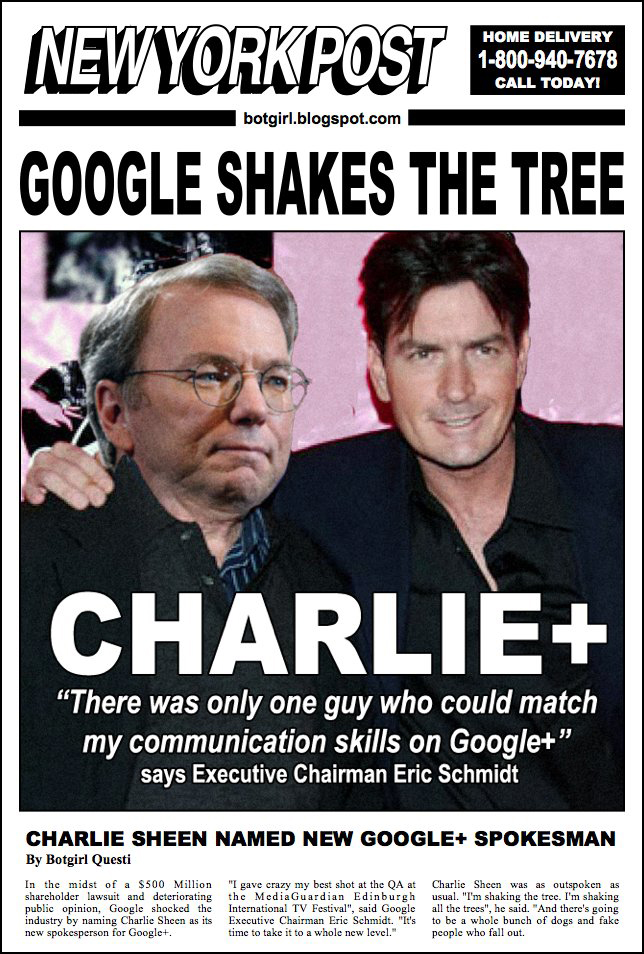 BREAKING NEWS: Google Names Charlie Sheen as New Spokesman for Google+