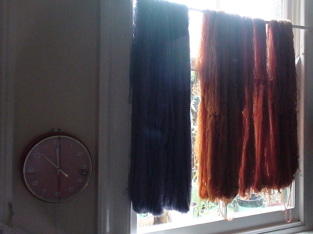 Darkened by drying yarn