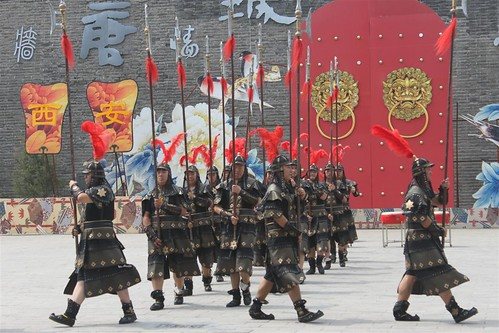 Performers in warrior suits at Xi'an City Wall, China