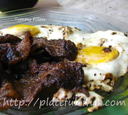Yakiniku beef and fried eggs