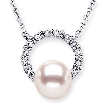 Round Akoya Cultured Pearl and Diamond Halo Pendant in 14k White Gold