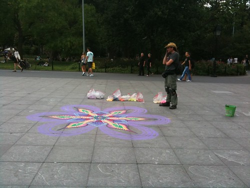 Chalk drawing and its artist, Washington Square Park