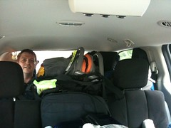 "Grant assumes ""The Mom Cave"" position in the van"