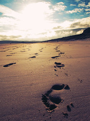 Beach Footprints (preynolds) Tags: sky beach southwales clouds sand footprints threecliffsbay