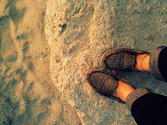 It's that time of year (AtotheNA) Tags: light sunset feet beach rock evening sand shoes warm soft legs saturday socal sep lbc bearpaw slipons 2011 coldpiggies