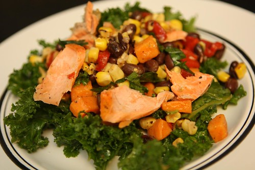 Kale with Salmon, Grilled Corn, Red Pepper, Sweet Potato, and Black Beans