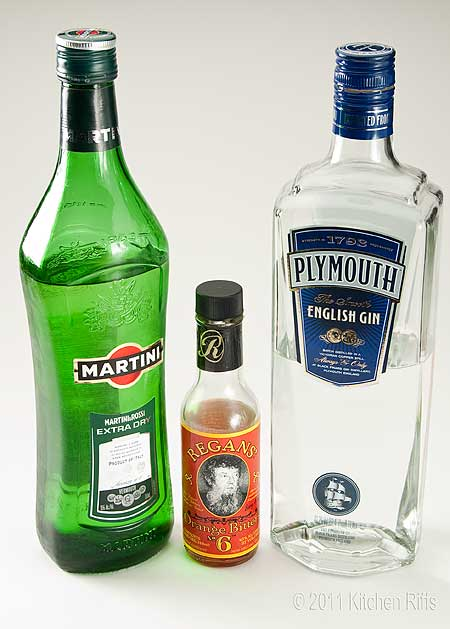 Ingredients for Dry Martini - Plymouth Gin, Vermouth, Orange Bitters