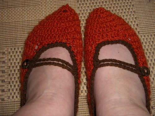 crocheted slippers by Aunt Angie Sews