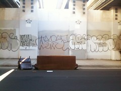 can't get enough (greenkozi) Tags: street light brown streetart abandoned trash underpass graffiti oakland chair tag bart couch sidewalk jeans sofa freeway sofafree takenwhiledriving graff curb throwup iphone warez dumped areba