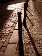 Tracing back the Steps (greenie11*) Tags: street light shadow sun sepia one europa europe republic czech prague walk prag praha tschechien ombre number explore hana mysterious schaduw schatten praag straat republika ulice tsjechie ceska stin greenie11