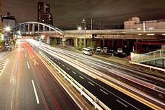 Minowa 3 (spiraldelight) Tags: tokyo traffic shift 東京 traffictrails minowabashi lightstream 三ノ輪橋 eos5dmkii tse17mmf4l