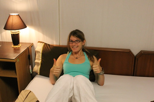 Thumbs up for sleeping in a bed