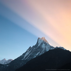 The mountain of Gods (Anton Jankovoy (www.jankovoy.com)) Tags: nepal mountain sunrise ray peak mount himalaya  machhapuchhre