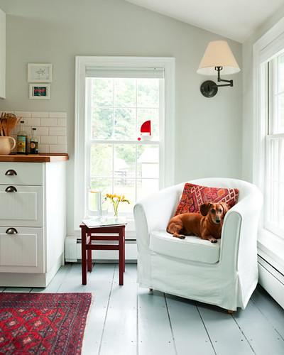 Sisse Jonassen / Emily Gilbert via Design*Sponge {white eclectic rustic bohemian modern kitchen / living room}