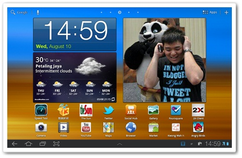 Samsung Galaxy Tab 10.1 Home Screen