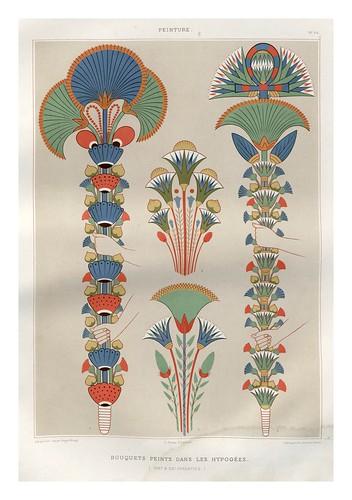 012-Bouquets pintados en los hipogeos-dinastias XIX y XX-Histoire de l'art égyptien 1878- Achille Constant Théodore Émile