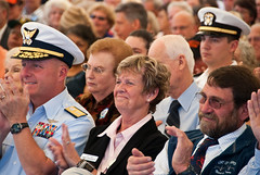 Ginny Goblirsch, retired Oregon Sea Grant Extension agent and Newport Port Commissioner, applauds a dedication speaker