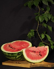 Still life with watermelon (Irina Pavlenko) Tags: life wild food green leaves still watermelon grape d90