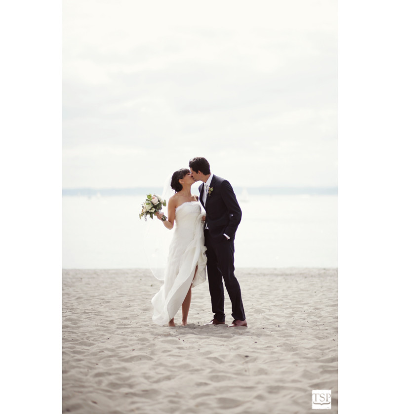 Seattle Golden Gardens Beach Wedding Portrait