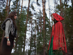 The Collision (Alexander Kuzmin Photography) Tags: wood red portrait haircut green girl fashion fairytale forest hair scary wolf alone dress darkness availablelight innocent front riding short stare hood cloak gaze glance redridinghood collision clinch alexanderkuzmin kuzmin