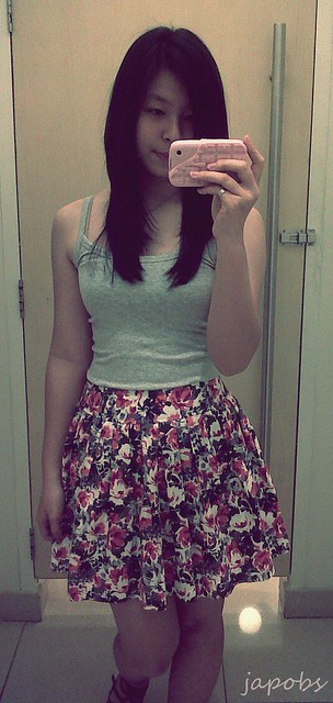 f21 floral skirt