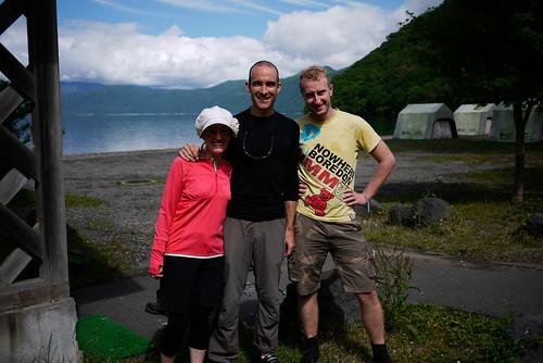 The merry troupe of three (Haidee, Rob, and couchsurfer Cezary) at Lake Shikotsu, Hokkaido, Japan
