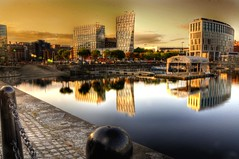 Golden water (Shertila Tony) Tags: sunset england sky water glass architecture liverpool buildings europe britain hdr albertdock merseyside liverpoolone liverpool1 colorphotoaward platinumheartaward 100commentgroup reflectionshdr bestcapturesaoi elitegalleryaoi mygearandme mygearandmepremium mygearandmebronze mygearandmesilver mygearandmegold mygearandmeplatinum mygearandmediamond