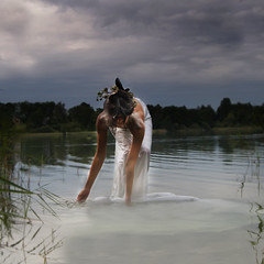 Wassergeist (Blue eyed synaesthete) Tags: lake selfportrait water dark rising ghost surreal spirits milky fineartphotography waterghost lossofreflection