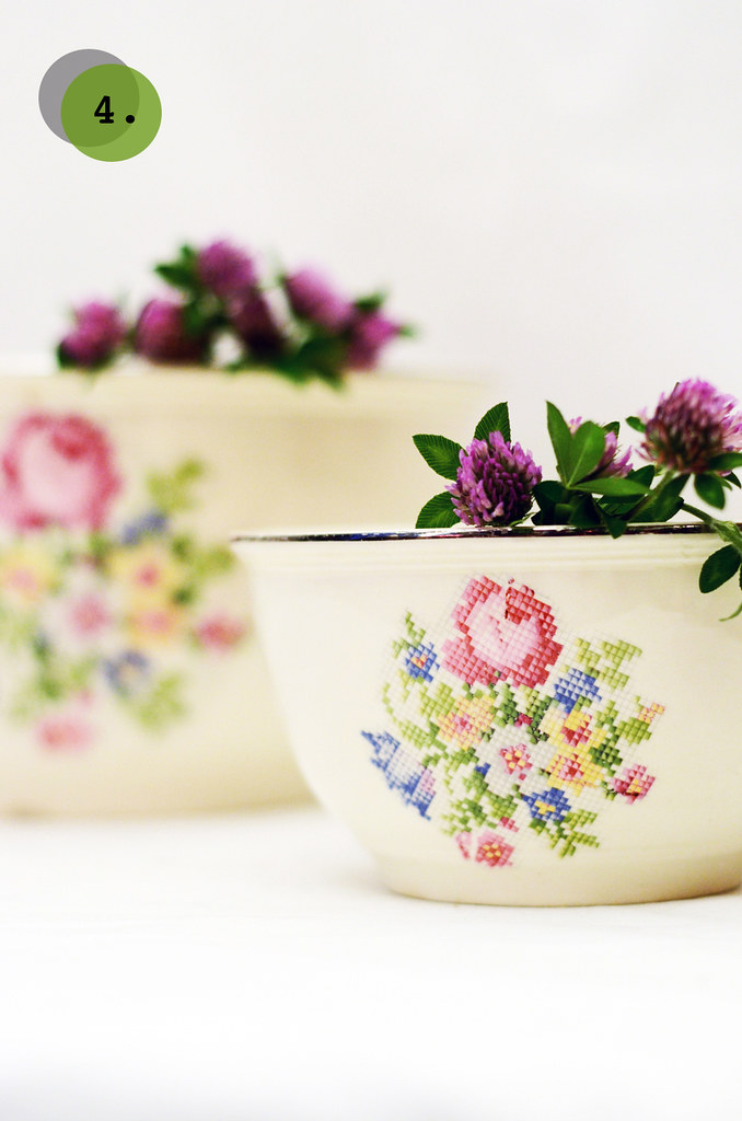 Vintage Cross Stitch Floral Mixing Bowls