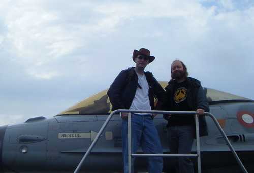 Wardy and Nick posing with the F-16
