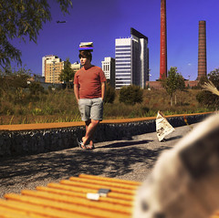 Transference (Casey David) Tags: city blue portrait sky orange selfportrait david guy yellow self plane project casey newspaper birmingham day cityscape towers memories alabama posed posing floating books scene days smokestack balance 365 asphalt balancing gravel cityscene selfie handsinpocket railraod birminghamalabama railroa