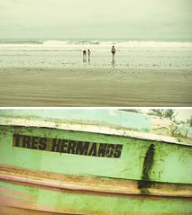 brothers (robotortiz) Tags: sea summer vacation woman sun beach girl vintage boat ecuador sand holidays day playa symmetry salinas
