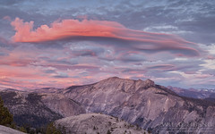 Lenticular Sunset (Willie Huang Photo) Tags: california sunset nature landscape nationalpark scenic yosemite halfdome yosemitenationalpark tioga northdome hwy120
