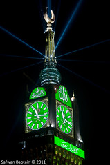 """Makkah Clock""  The night of Eid [3/3] (Safwan Babtain -  ) Tags: clock by night eid sigma hour 70300mm  makkah  safwan the     alfitr    f456            babtain   makkahclock 1432 2011"