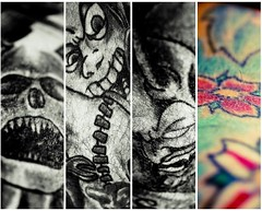 TaTTooS (  Pounkie  ) Tags: flowers bw colors ink fleurs skull couleurs mosaic bruce details tattoos frankenstein devil jef noirblanc diable medley dmon ttedemort tatouages