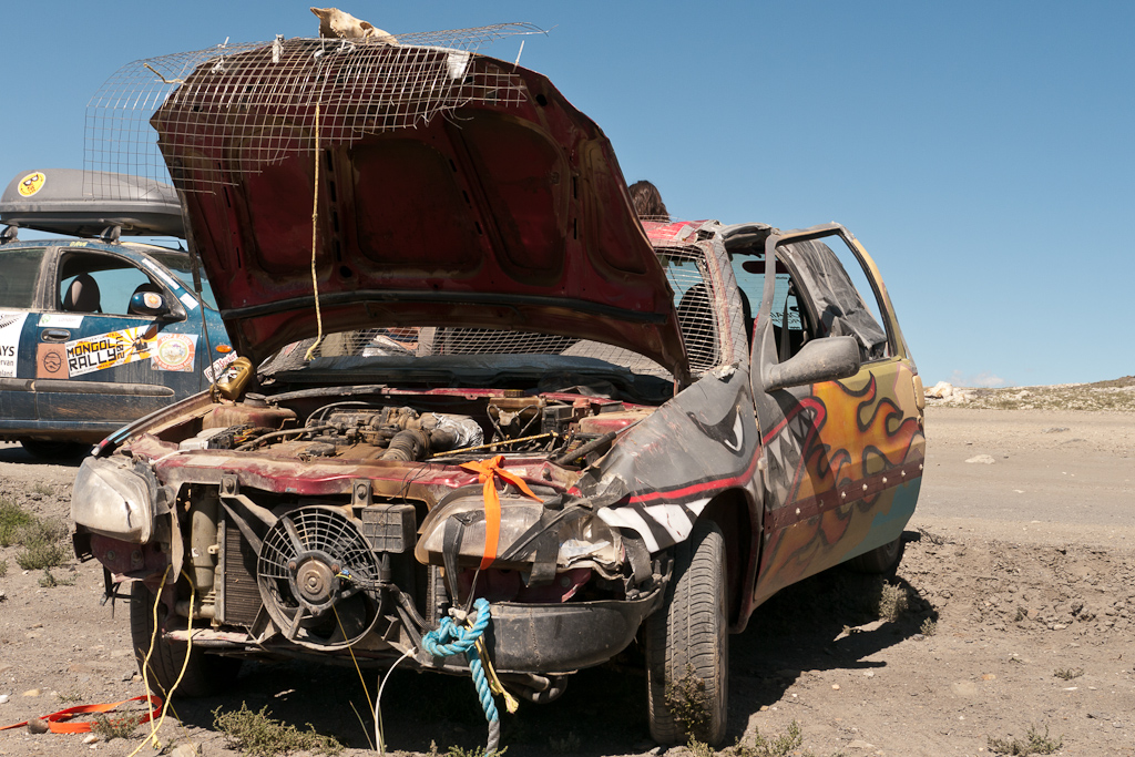 mongol rally smashed up car