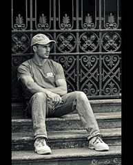Border street relax 2 (dClaudio [homofugit]) Tags: street boy summer bw man milan guy relax nikon sitting relaxing worker d90 mygearandme