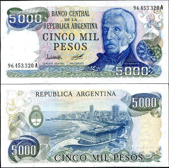 5000 Pesos Argentína 1977-83, Pick 305