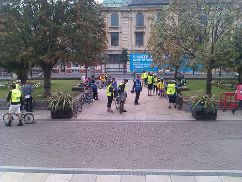 Our crowd near the Hackney Town Hall