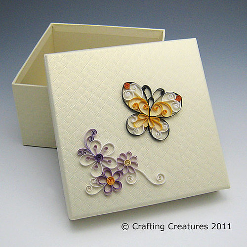 Quilled butterfly box