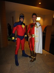 Captain Marvel (Derek) and Cpatain Marvel (Me) (Clad in Hero) Tags: costumes dc costume day dragon cosplay being labor forum super september captain hero superhero marvel costuming cosmic con dragoncon shazam lighning scf 2011