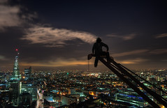 Head in the Clouds (murphyz) Tags: city london night clouds lights high cityscape view britain urbanexploration olympic olympics shard 2012 urbex london2012 2012olympics londonolympics olympiccity rooftopping