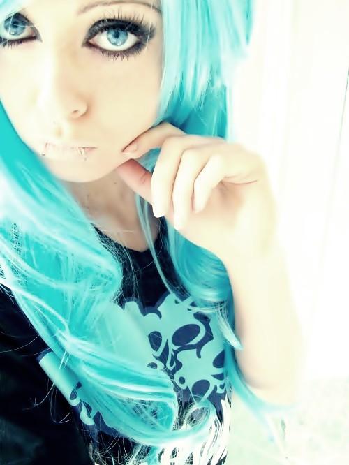 blue emo scene hair style bibi barbaric eyes make up