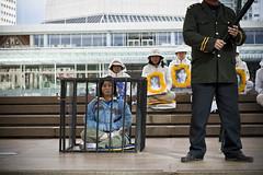 Falun Dafa (Dylan M. Hope) Tags: new colour square religious political protest auckland zealand l spiritual aotearoa gong falun dafa 1635mm