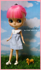 Blythe Outfit - Cute Baby Blue Check Dress